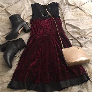 Forever 21 Red Velvet Skater Dress